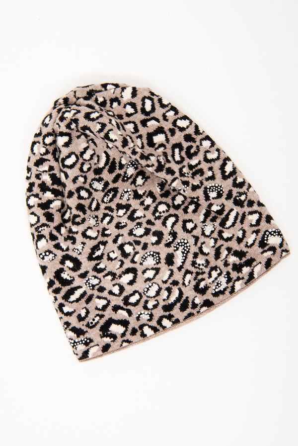 Leopard Print Diamante Studded Knitted Beanie