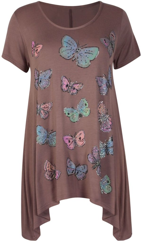 Plus Size Teal Butterfly Printed Asymmetry Top