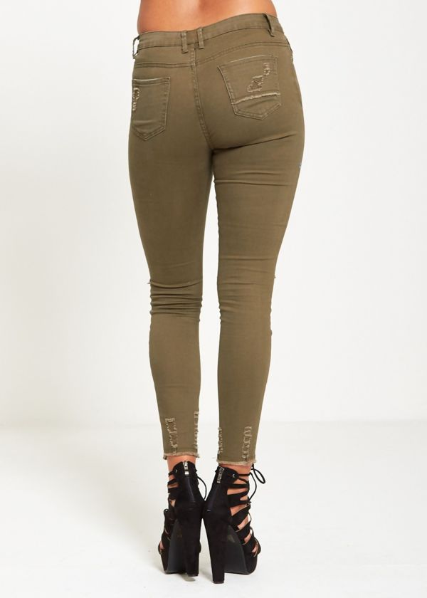 Knee Disguised Khaki Frayed Hem Jeans