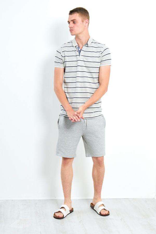 Grey Classic Multi Stripe Polo T-Shirt