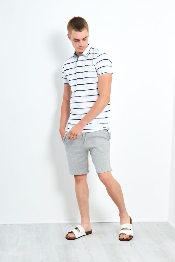 White Classic 3 Buttons Multi Stripe Polo Shirt