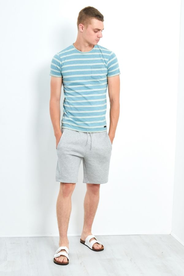 Short Sleeve Crew Neck Stripe T-Shirt