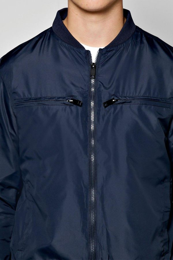 Navy Nylon Double Pocket Bomber Jacket