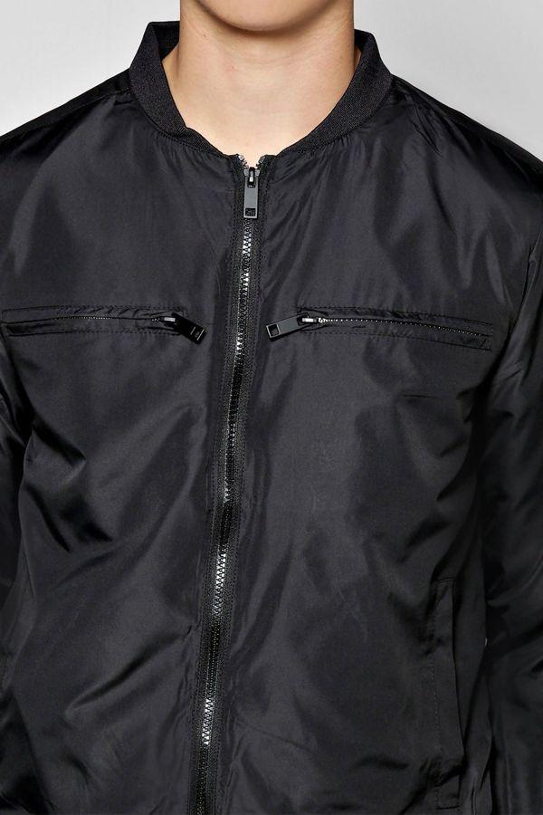 Black Nylon Double Pocket Bomber Jacket