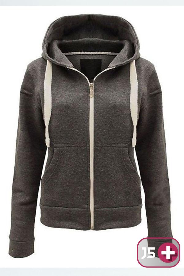 Plus Size Charcoal Basic Hooded Jacket