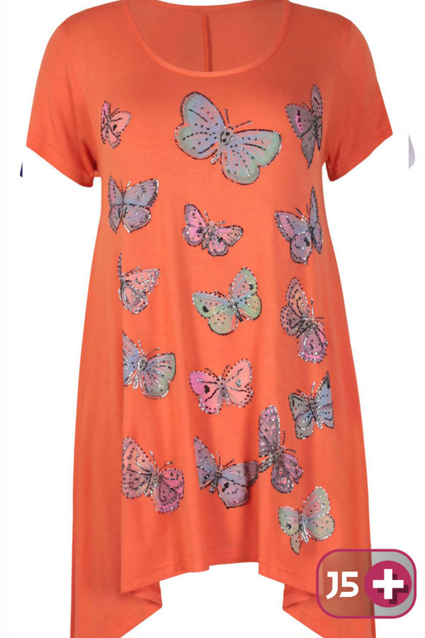 Plus Size Orange Butterfly Printed Asymmetry Top