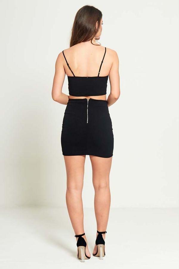 Black Zip Up Crop Top Skirt & Co-Ord Set