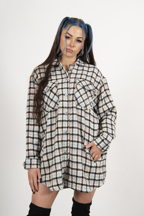 Blue Brushed Check Oversized Pocket Detail Shacket