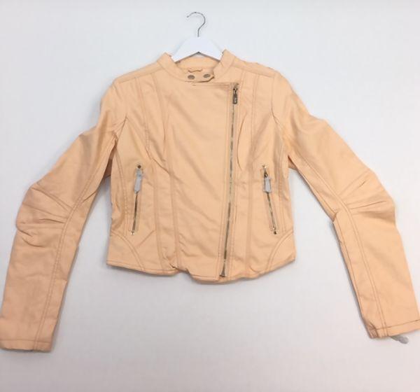 Peach Faux Leather PU Biker Jacket
