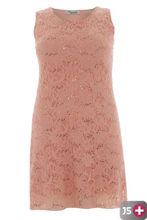 Plus Size Peach Sleeveless Lace Sequin Evening Swing Dress