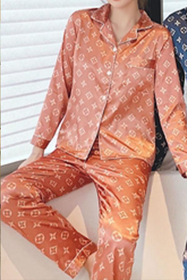 Peach LV Printed Long Sleeve Satin Pajamas