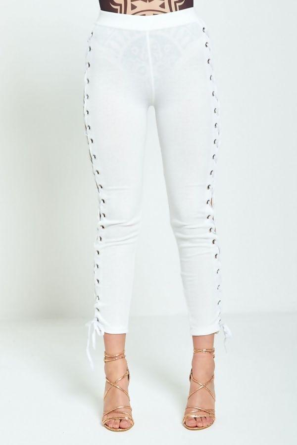 White DIY Edgy Lace Up Leggings