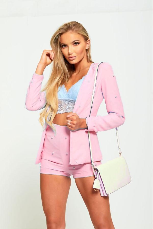 Pink Pearl Detail Shorts