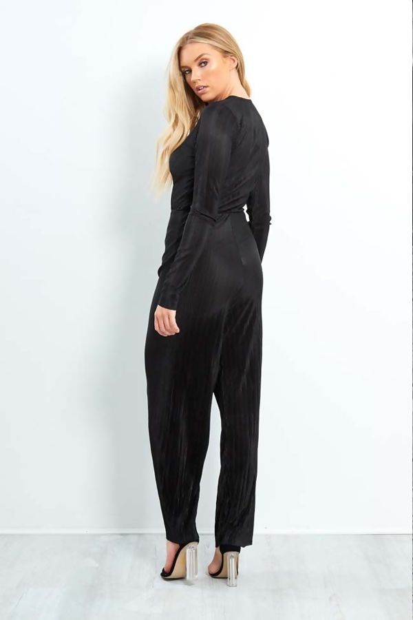 Red Cross Over Shiny Pleated Jumpsuit