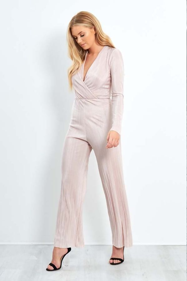 Nude Cross Over Shiny Pleated Jumpsuit