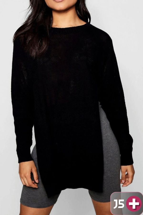 Plus Size Black Side Split Moss Knitted Jumper