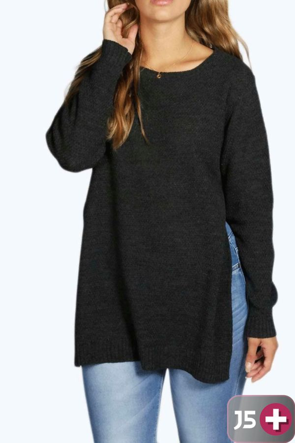 Plus Size Charcoal Side Split Moss Knitted Jumper