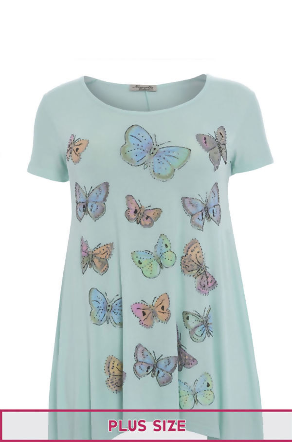 Plus Size Mint Butterfly Printed Asymmetry Top