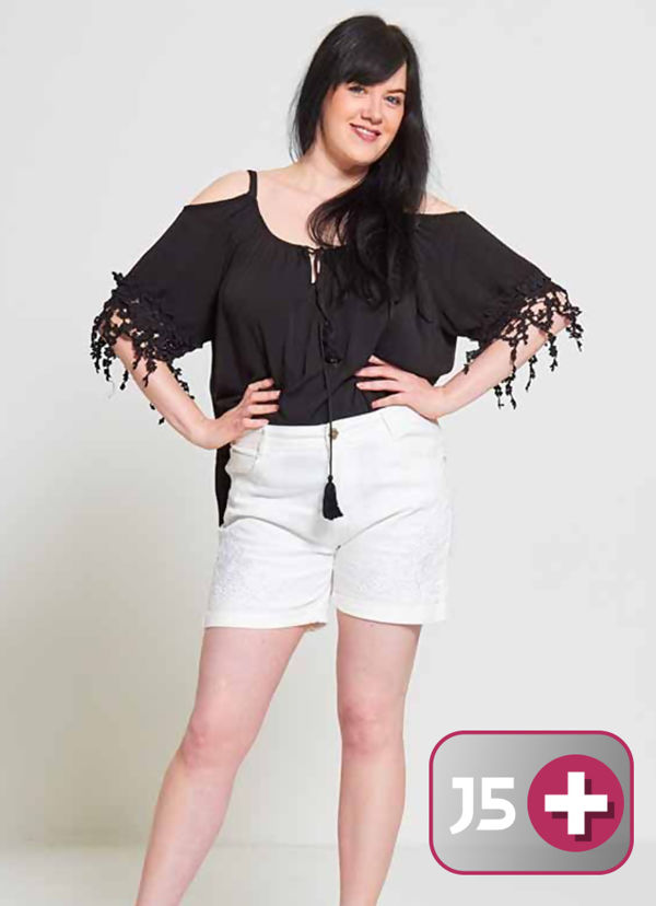 White Plus Size Diamante Embroidered Shorts
