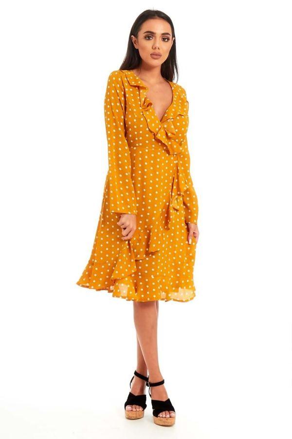 Mustard Stella Polka Dot Frill Cross Over Mini Dress