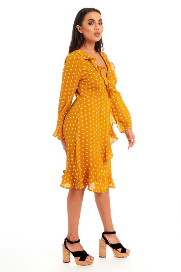 Navy Stella Polka Dot Frill Cross Over Midi Dress