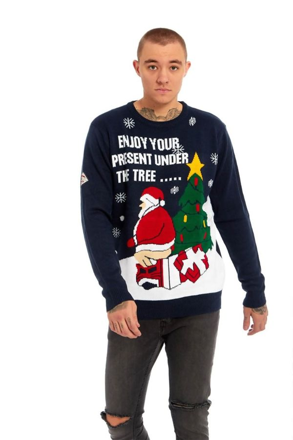 Grey Enjoy Your Present Under the Tree Fine Knitted Christmas Jumper