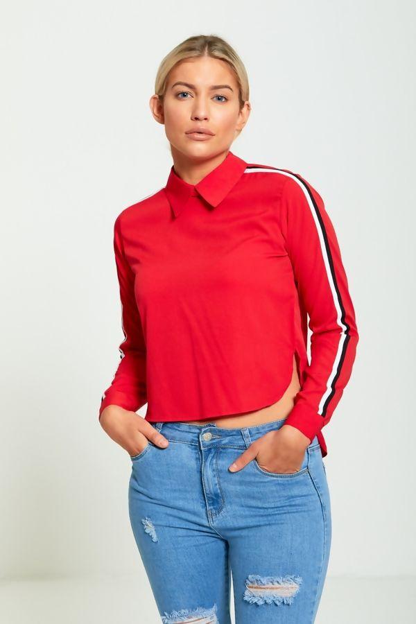 Red Long Sleeves Dip Hem Stripe Shirt