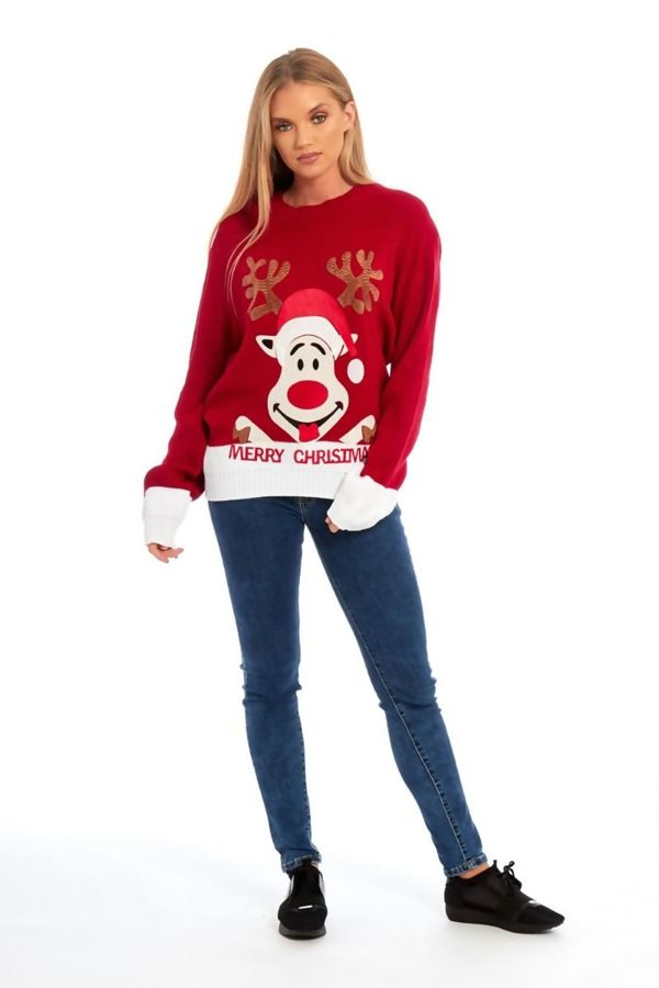 Red Suede Naughty Reindeer Merry Christmas Jumper