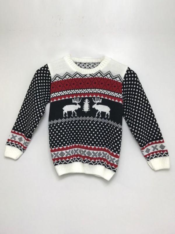 Black Kids Reindeer Patterned Christmas Jumper