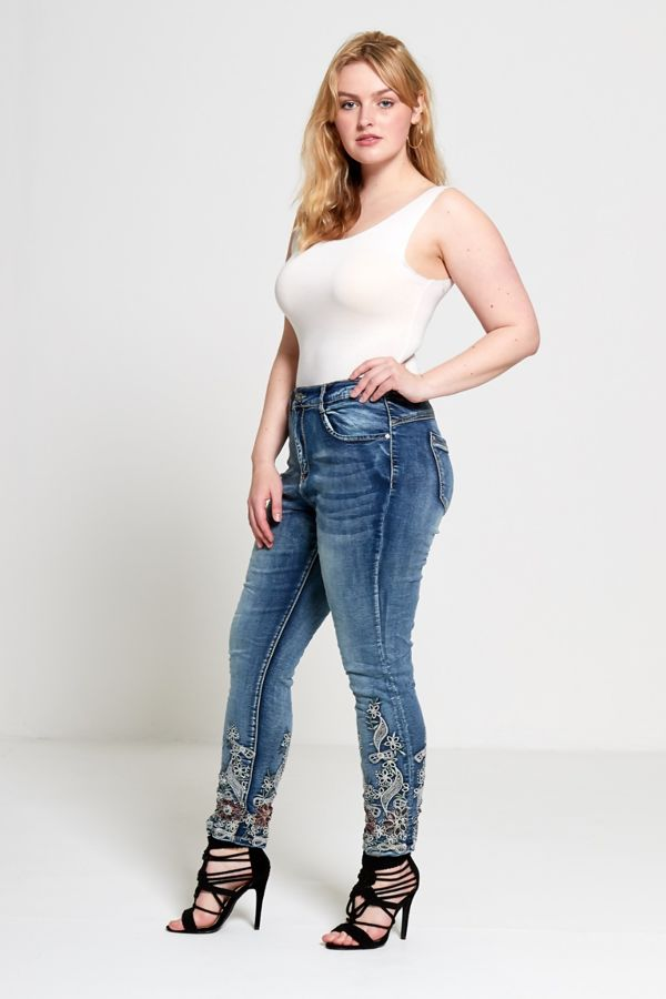 White Curve Embroidered Hem Denim Jeans