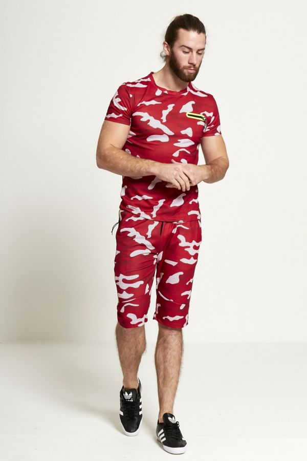 Red Camo Shorts And T-shirt Set