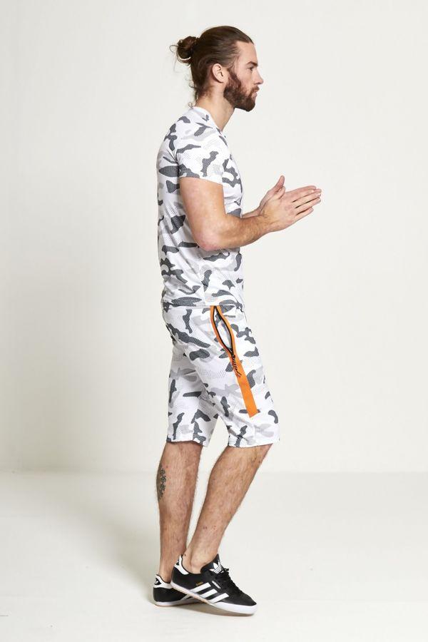 White Camo Shorts And T-shirt Set