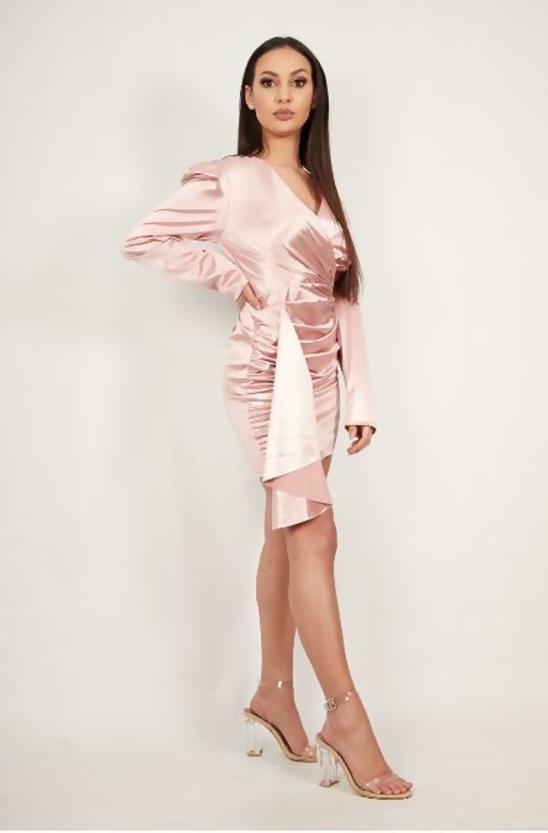 Rose Satin Drape Ruched Detail Mini Dress