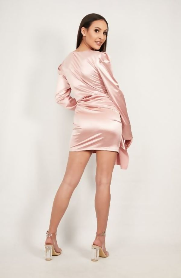 Rose Satin Drape Ruched Detail Mini Dress