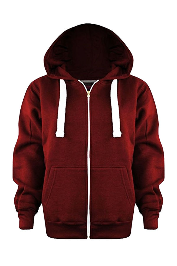 Kids Red Basic Zip Up Hoodies