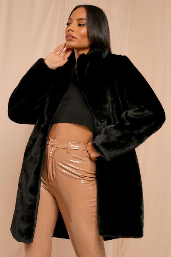 Red Plush Faux Fur Coat