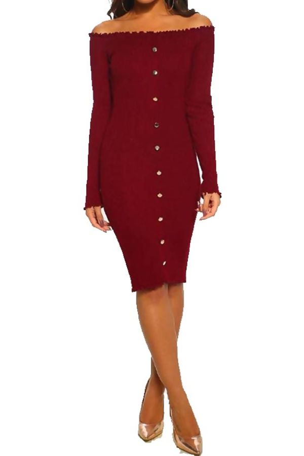 Wine Button Up Ribbed Bardot Dress