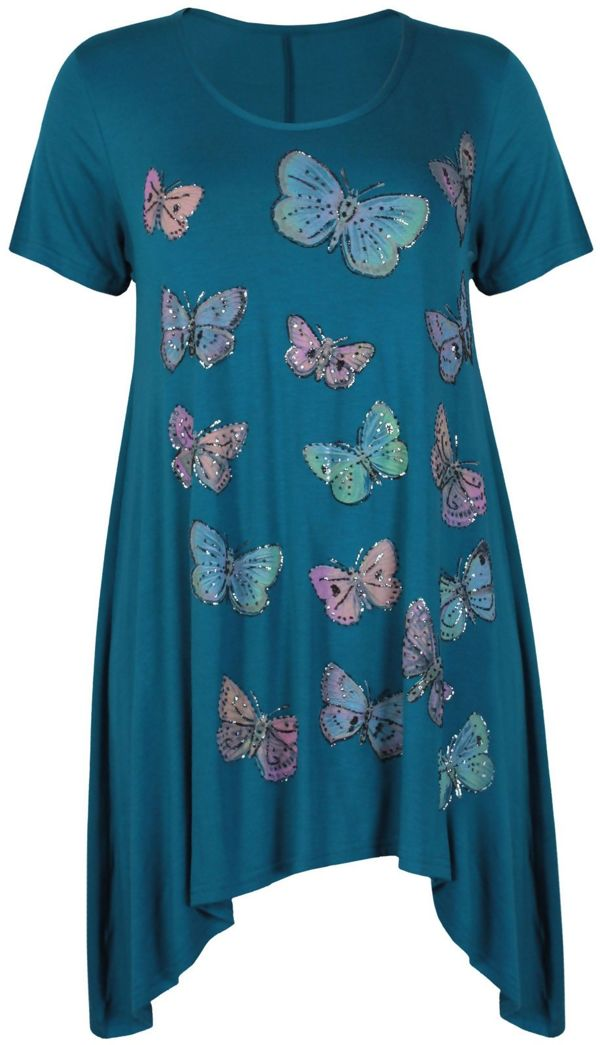 Plus Size Red Butterfly Printed Asymmetry Top