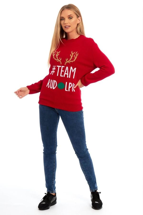 Red Glitter Team Rudolph Knitted Christmas Jumper