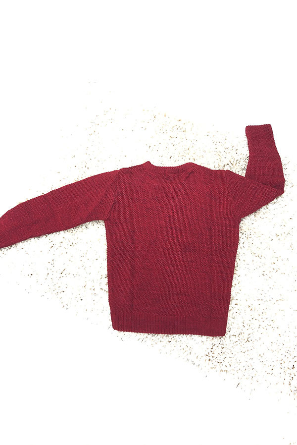 Kids Wine Textured Twist Crew Neck Jumper