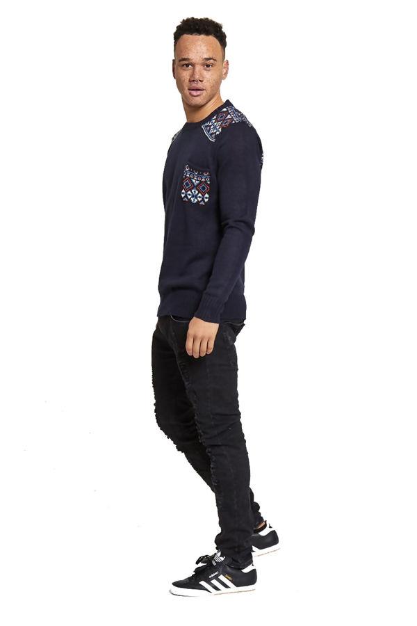 Diamond Print Knitted Jumper