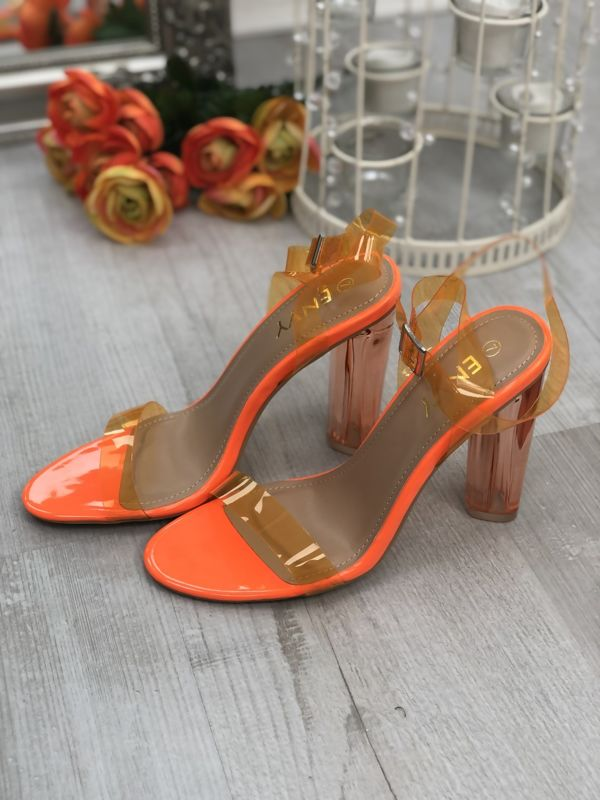 Neon Orange Perspex Wrap Ankle Block Heels