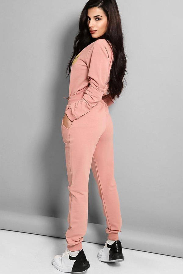 Pink Gold Mickey Logo Front Tracksuit