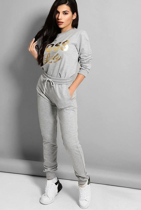 Grey Boss Lady Slogan Loungewear