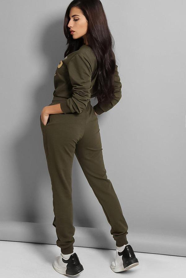 Khaki Boss Lady Slogan Loungewear