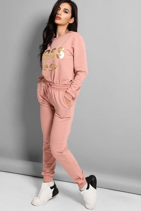 Pink Boss Lady Slogan Loungewear