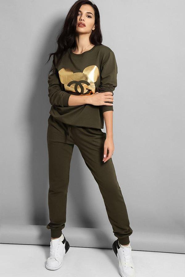 Plus Size Khaki Gold Mickey Logo Front Tracksuit
