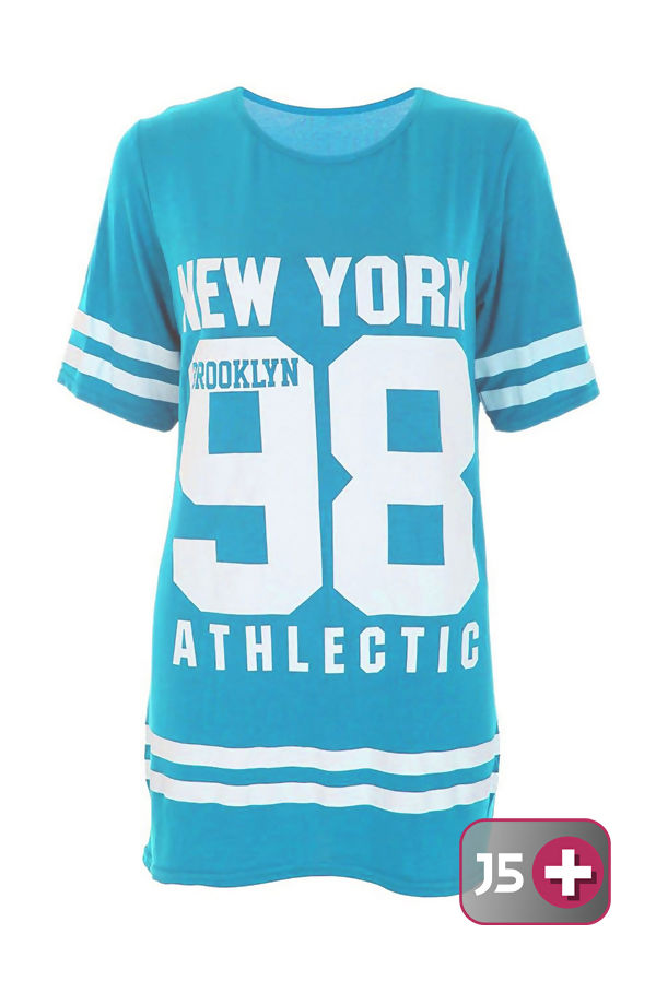 Plus Size Turquoise New York 98 Oversize T-Shirt