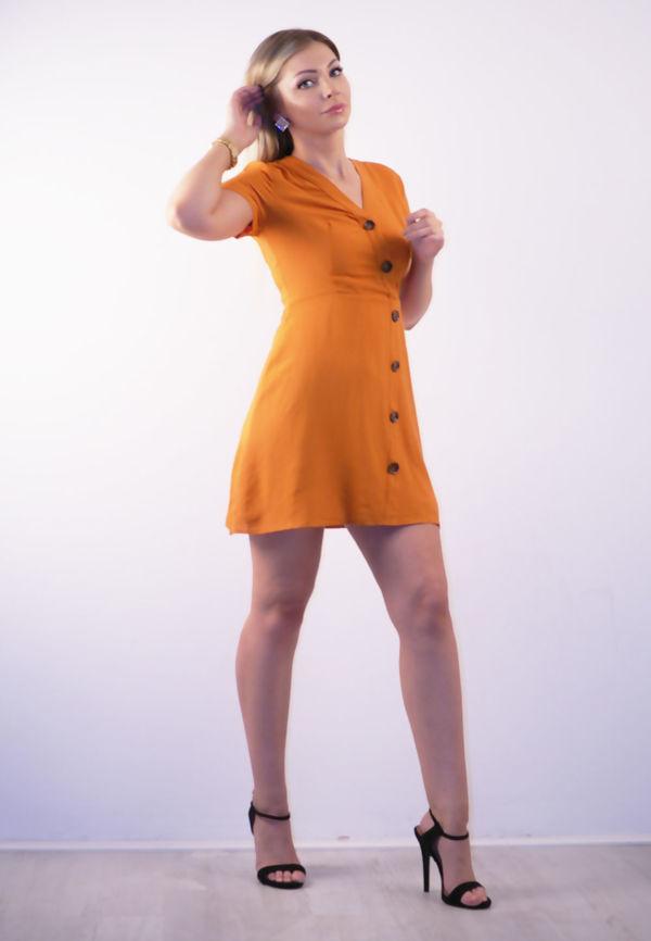 Black Asymmetric Button Up Skater Dress