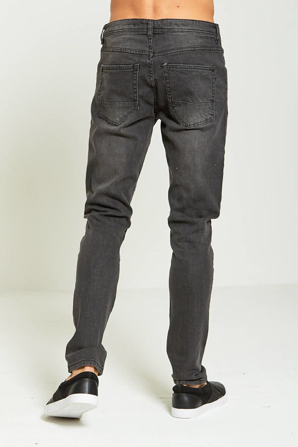 Knee Ripped Charcoal Skinny Jeans